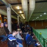 Blick auf die Zuschauerränge der Kreissporthalle beim EMB-Cup 2014