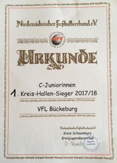 Hallenkreismeisterurkunde der C-Juniorinnen der Saison 2017/18