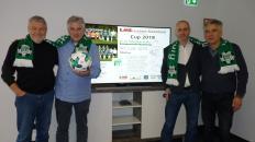 Treffen anläßlich des anstehenden EMB-Cups: v.l. Wolfgang Keusch(VfL), Detlef Meier(EMB), Tom Cross(VfL) u. Dieter Meier(EMB)